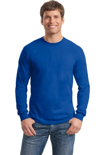 Blue Long Sleeve Tee - Gildan Heavy Cotton 5.3 oz. Long-Sleeve T-Shirt, Large, Royal