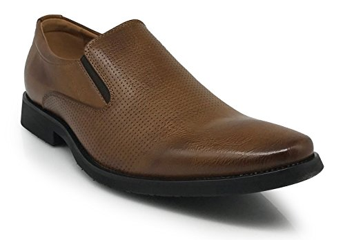 Just2 Mens Business Laser Perforate Slip On Mocassini Scarpe Classiche Marrone