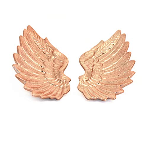 Rose Gold Wings Trinket Dish Set 2 Collectibles Ceramic Angel Embrace Jewelry Organizer Tray