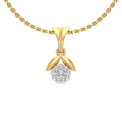 14K Or jaune 0,21CT TW Round-cut-diamond (IJ | SI) diamant Pendentif