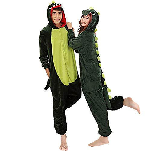 Aoibox Unisex Adult Dinosaur Animal Cosplay Onesie Pajamas Size M GreenDinosaur -