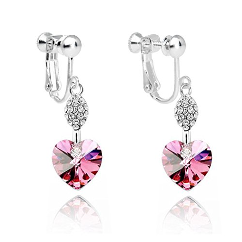 Latigerf Girl Heart Screw Back Clip on Earring Swarovski Elements Crystal Pink ()