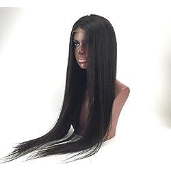 "Good Quanlity 18"" Front Lace Wigs Cheap Human Hair Wig Peruvian Virgin Remy Human Hair Natural Straight Color #1B Off Black"