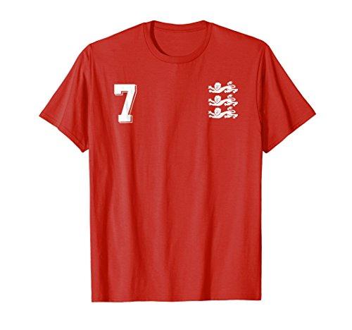 England Football Jersey 1966 Soccer T-Shirt 7 Red Lions