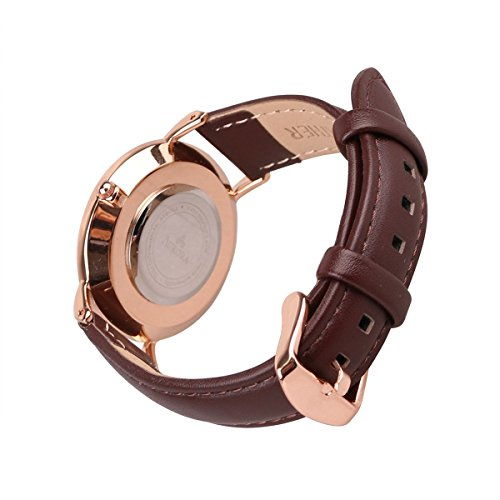 Amazon.com: Aurora Womens Classic Steel Quartz Watch With Brown Band (Gold): Watches