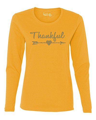 Thankful Gold Glitter Christmas Shirt Womens LS T-Shirt Gold 2XL (Gold Glitter Shirt)