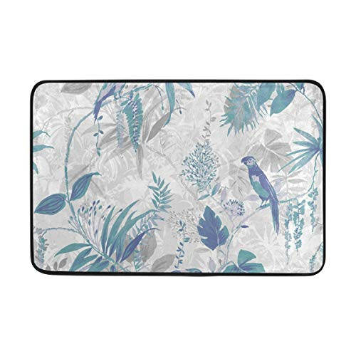 Dragon.S Non Slip Blue Leaf Wallpaper Indoor Mat for Wet Shoes,Soft Polyester Floor Mat Doormat Super Absorbs Water,23.6x15.7 Inch Home Decoration Area Rug