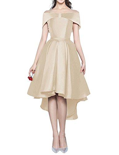 A-line Portrait (Icy Sun Women's A Line Hi-Low Formal Dresses Portrait Lace-up Bridesmaid Gowns IS005)