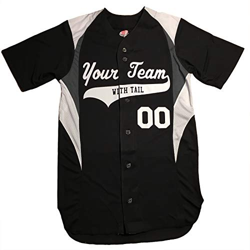 3 Color Customized Baseball Jersey Adult X-Large in Black and White