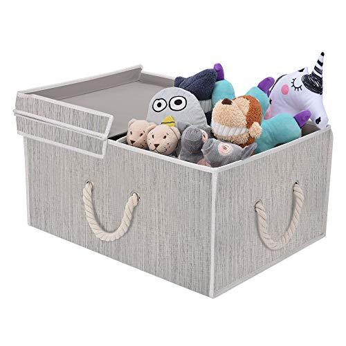 StorageWorks 65L Storage Box Cloth Box with Double-Open Lid and Strong Cotton Rope Handle, Mixing of Gray, Brown & Beige, Bamboo Style, Jumbo (With Storage Lids Boxes Fancy)