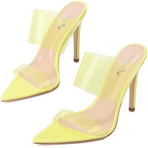 vivianly Womens Fashion Sexy High Pointed Toe Heels Slip on Dress Sandals ()