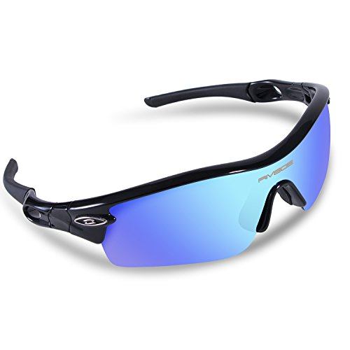 RIVBOS 805 TR 90 Frame Polarized Sports Sunglasses Sun Glasses with 5 Set Interchangeable Lenses for Men Women Cycling Baseball(Upgrate TR90 Black ice (No Prescription Color Contacts)