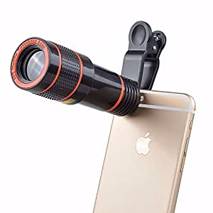 Cellphone Camera Lens,G-Brisa Clip-on 12x Optical Zoom HD Telescope Camera Lens for iPhone,Samsung,LG,Asus,Sony,iPad