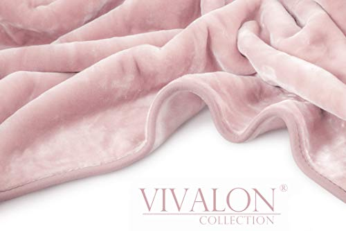 Vivalon Solid Color Ultra Silky Soft Heavy Duty Quality Korean Mink Reversible Blanket 9 lbs King Mauve Pink