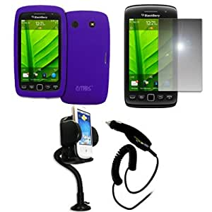 EMPIRE Purple Silicone Skin Case Cover + 360 Degree Rotatable Car Windshield Mount with Air Vent Attachment + Mirror Screen Protector + Car Charger (CLA) for BlackBerry Torch 9860