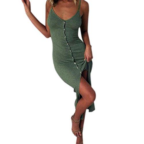 Con Elegante Da Split da Vestito Vestiti Collo Fronte Verde maniche Senza Vestito donna Midi feiXIANG Pulsante Donna V Estate Abito Bodycon Spiaggia Vestito Donne Donne Abito Gonne OqA0wxEgEn