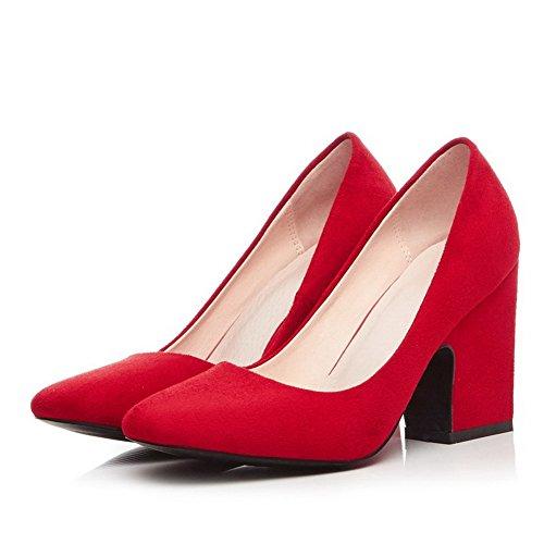 Suljetun Solid Korkokenkiä Pumput Päälle Toe Naisten Weipoot Huomautti Punainen kengät Himmeä Vedettävä q6A0n