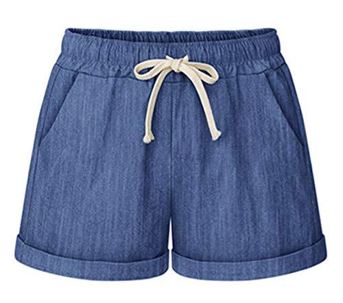 (Chartou Women's Summer Casual Drawstring Waisted Linen Clothing Shorts (Large, Chambray))