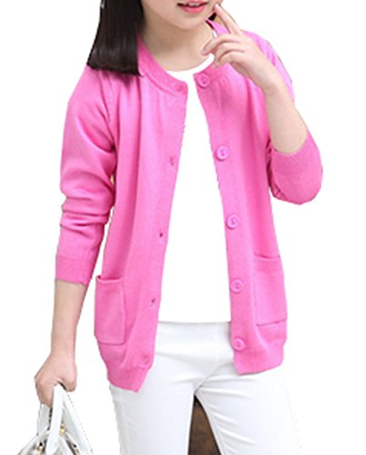 RJXDLT Girls Cardigan Knit Sweaters Long Sleeve Button Cotton Sweater (140) 5-6Y Rose 210