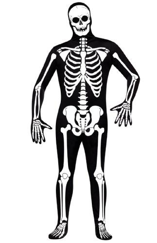 FunWorld Skelton Skin Suit, Black/White, One Size (Black Skinsuit)