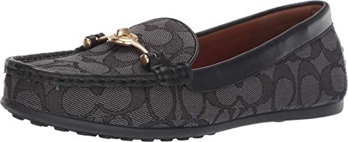 Coach Women's Signature Jacquard Turn-Lock Greenwich Driver Slip-On Loafers Shoes FG1887 (7.5 B, Black/Smoke)
