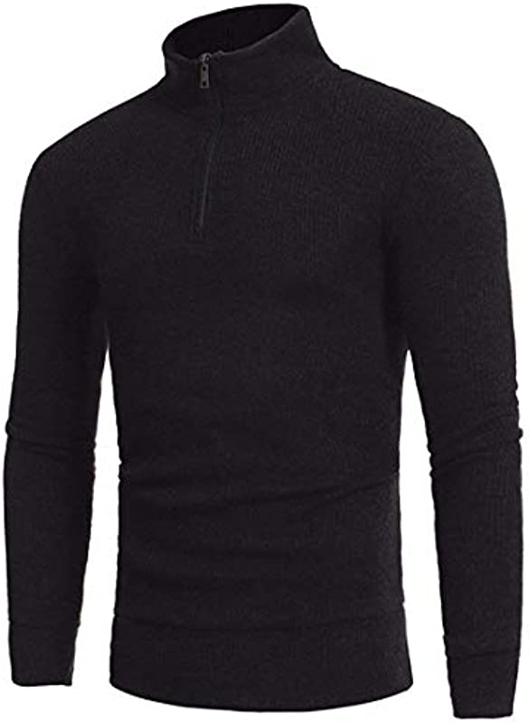 Autumn and Winter Fashion Simple Half Height Collar Men's Casual Classic Self Cultivation Knitted Sweater sweter na kÓłkach chłopięcy: Odzież