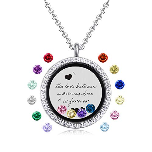 Feilaiger Inspirational Words Necklace, Greetings Words Necklace, Graduation Gifts Floating Charm Living Memory Locket Pendant Necklace with Birthstone (Mother & Son) -