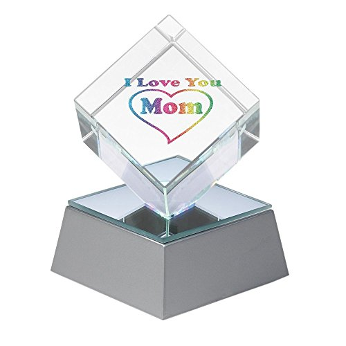 Amlong Crystal Lighted I Love You Mom Crystal Cube with Gift