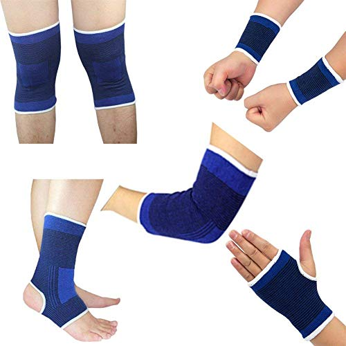 Jebester 10PCS Protective Gear Set, Knee Pads / Wristbands / Elbow Pads / Ankle Brace / Palm Brace, Fits for Men & Women, Great for Sports Fitness Exercise Workout - Elbow Ankle