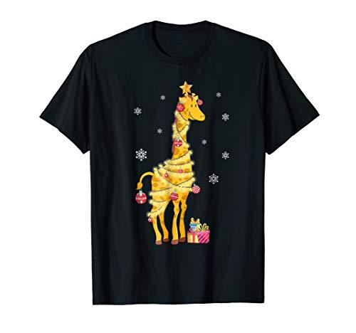 Xmas Giraffe Tree Light Gift Christmas T-Shirt For Men Women