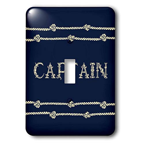 3dRose Russ Billington Nautical Designs - Navy Blue and Ivory Text- Captain with Rope Detail - Light Switch Covers - single toggle switch (lsp_291573_1)