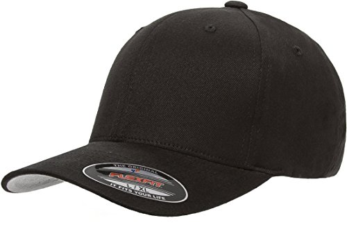 (Blank FlexFit Brushed Twill Ball Cap Hat 6377 (S/M 6 3/4-7 1/4, Black))