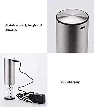 Abrebotellas de vino eléctrico Set de abrebotellas de vino de acero inoxidable Abrebotellas automático Abrebotellas de vino recargable USB (Plata)