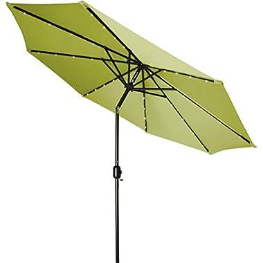 Trademark Innovations Deluxe Solar Powered LED Lighted Patio Umbrella, Light Green, 9-Feet
