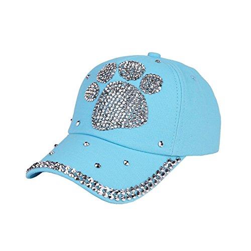 Queenbox Women Rhinestone Bling Stud Baseball Cap Men Casual Dog Paw Shaped Hat Vintage Washed Cotton Strapback