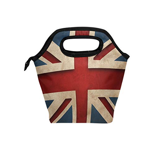Naanle Union Jack Flag Insulated Zipper Lunch Bag Cooler Tote Bag for Adult Teens Kids Girls Boys Men Women, British Flag Lunch Boxes Lunchboxes Meal Prep Handbag for Outdoors School Office