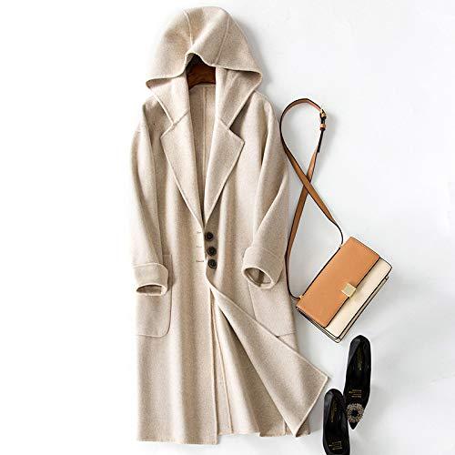 di cappuccio lato in lungo monopetto con YLJHY Autunno a cappotto e doppio lana Marrone bianca nylon cappotto Taglia moda signore inverno unica qYqpnxOz