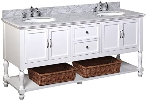 Beverly 72-inch Double Bathroom Vanity Carrara/White : Includes White Cabinet