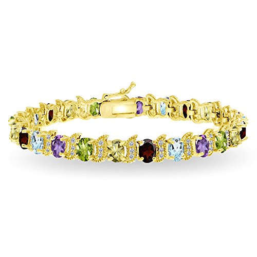 (Yellow Gold Flashed Sterling Silver Multi Gemstone 6x4mm Oval and S Tennis Bracelet with White Topaz Accents)