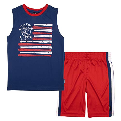 Spalding Boys Americana Athletic Active Mesh Muscle Tank Top and Shorts Set, Navy Blue, 5/6 ()