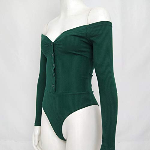 De Bodysuit Ribbed Shoulder Manga Green Camisetas Larga Con Women Botones Off qBpA5xXX