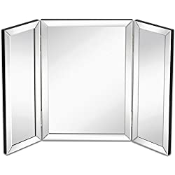"Hamilton Hills Trifold Vanity Mirror | Solid Hinged Sided Tri-fold Beveled Mirrored Edges | 3 Way Hangable on Wall or Tabletop Cosmetic & Makeup Mirror 21"" x 30"""