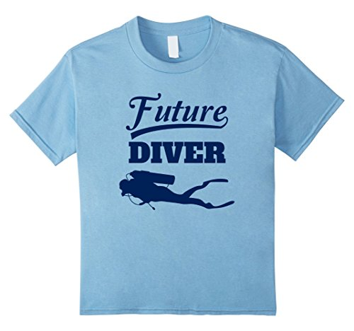 Diver Kids T-shirt (Kids Future Diver T-Shirt Scuba Diving Tee For Kids 4 Baby Blue)
