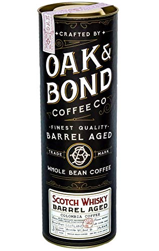 Scotch Whisky Barrel Aged Coffee - Whole Bean Coffee, Colombia Medium Roast Coffee Aged in Scotch Whisky Barrels by Oak & Bond Coffee Co. - 10 oz ()