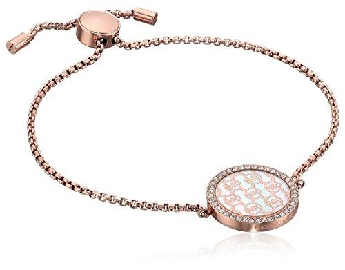 Michael Kors Logo Rose Gold-Tone and Crystal Slider Bangle Bracelet