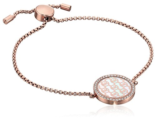 Michael Kors Logo Rose Gold-Tone and Crystal Slider Bangle Bracelet (Michael Kors Womens Crystal)