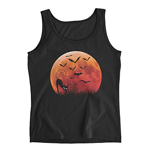 Zinko Women's Cat & Bats Halloween Costume Ladies Tank Top (S, Black)]()
