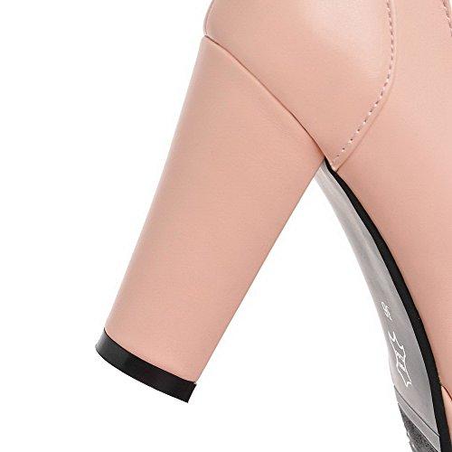 Damen geschlossene Pumps High runde Schuhe PU Zehe Rosa VogueZone009 Schnalle Heels FqwxOBB