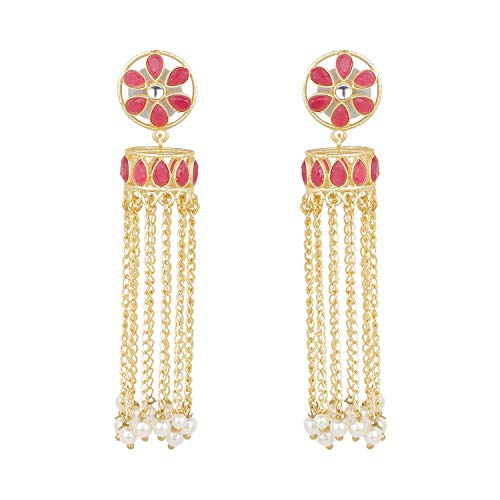 Efulgenz Indian Bollywood Bohemian 14K Gold Plated Crystal Faux Pearl Kundan Dangle Jhumka Jhumki Earrings Jewelry Set ()