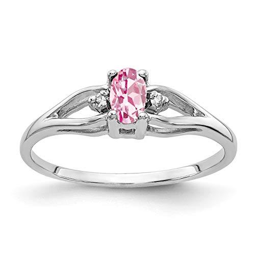 Bonyak Jewelry 14k White Gold 5x3mm Oval Pink Tourmaline VS Diamond Ring - Size 6